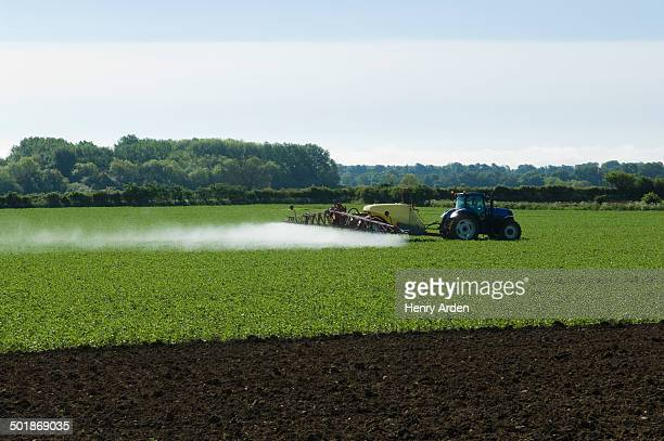 tractor and crop sprayer spraying in field - insecticide stock pictures, royalty-free photos & images