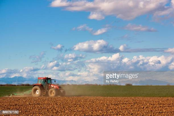 tractor cultivating a cereal field - カスティーリャレオン ストックフォトと画像