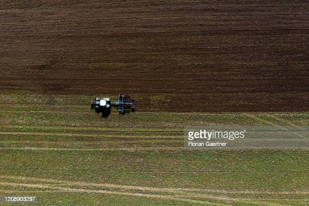 A tractor cultivator is pictured on September 14 2017 in Torga Germany