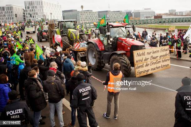 Tractor driver arrive to demonstrate against the agroindustry on January 20 2018 in Berlin Germany Marchers whose protest is coinciding with the...