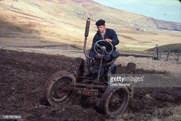Tractor driver on the Shetland Islands, June 1970.