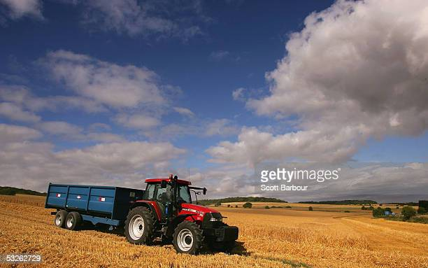 A tractor drives through the fields in the chalk downlands on July 19 2005 south of Salisbury England The future shape of Britain's farming industry...