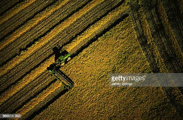 Tractor harvesting oilseed rape, aerial view