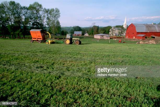 Tractor in a Harvested Alfalfa Field