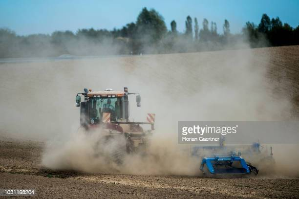 A tractor on a field is pictured on September 10 2018 in Kodersdorf Germany