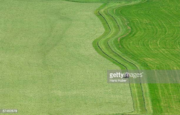 Tractor on meadow, elevated view