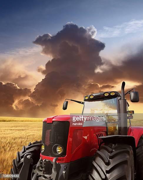 tractor on the field - tractor stockfoto's en -beelden