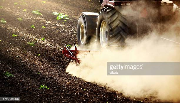 tractor performing fine cultivation. - tiller stock photos and pictures