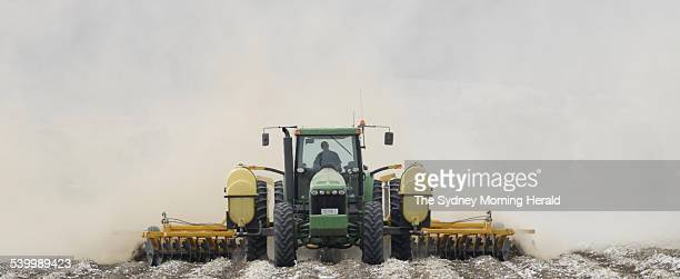 A Tractor ploughing a paddock in Gunnedah 29 March 2006 SMH Picture by PAUL MATHEWS
