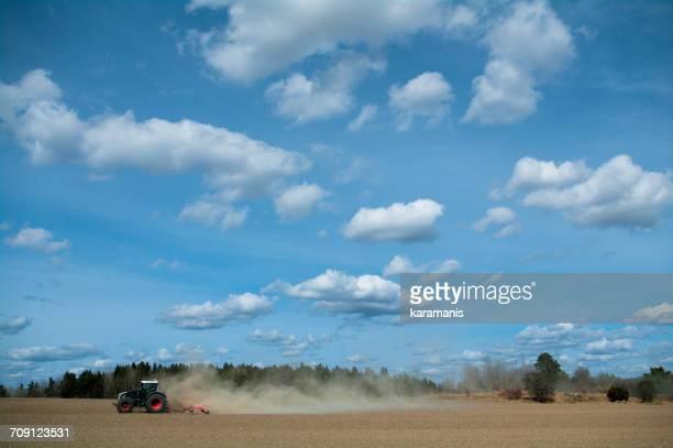 Tractor plowing a field, Uppsala, Sweden