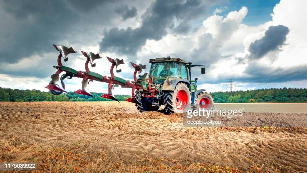 tractor plows the field - agricultural machinery stock pictures, royalty-free photos & images