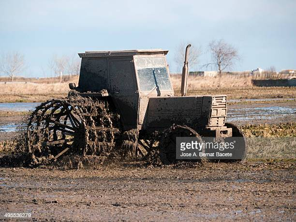 CONTENT] Tractor preparing the land to plant the crop of rice on a ricefield