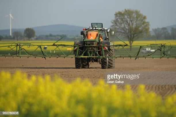 A tractor sprays pesticide on a field on April 21 2018 near Loebau Germany The new German government has vowed to tackle the widespread use by...