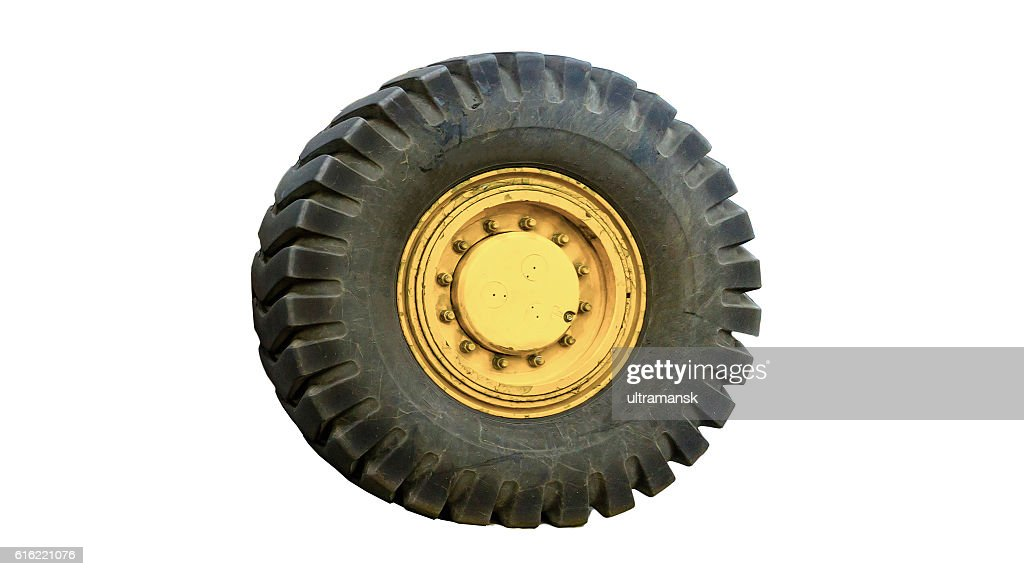tractor tires on white background isolated : Stock Photo