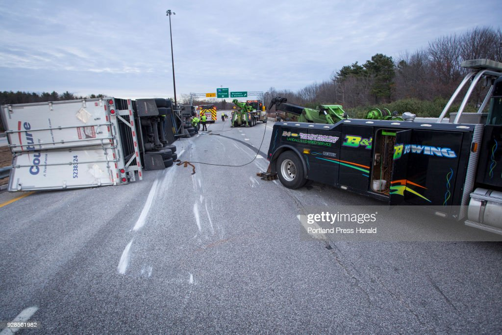 Tractor trailer rollover closes down northbound side of the