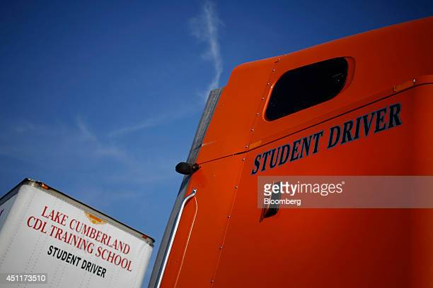 A tractor trailer used for training and student instruction sits parked outside during a commercial drivers license class at Lake Cumberland CDL...