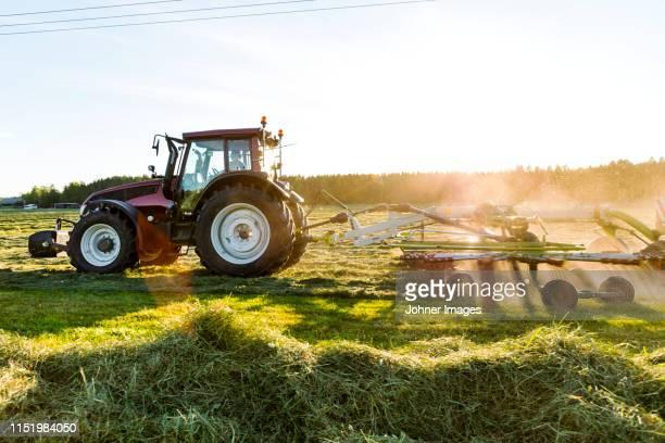 tractor with hay tedder on field - tractor stockfoto's en -beelden