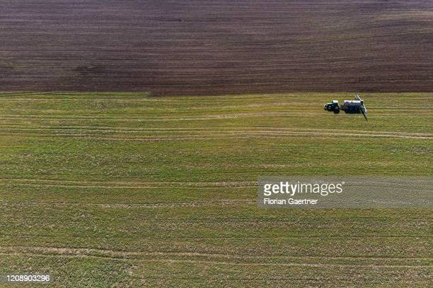 A tractor with liquid manure is pictured on September 14 2017 in Torga Germany