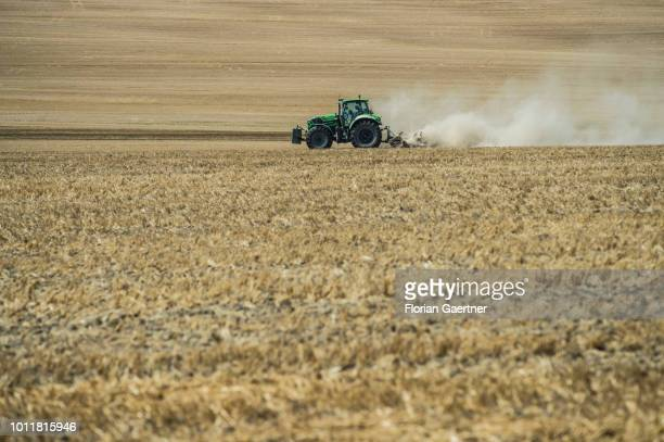 A tractor works on a harvested field on August 01 2018 in Koenigshain Germany Farmers complain harvest losses because of the dry weather over the...