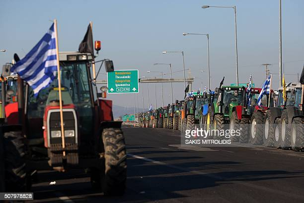 Tractors are parked at the border crossing of Kipoi between Greece and Turkey northeastern Greece as farmers set up a blockade at customs offices...