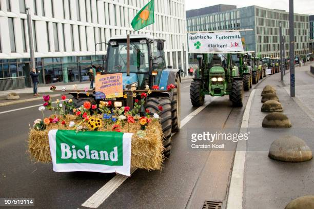 Tractors arrive to a march to demonstrate against the agroindustry on January 20 2018 in Berlin Germany Marchers whose protest is coinciding with the...