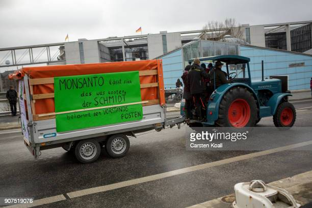 Tractors attend a march to demonstrate against the agroindustry on January 20 2018 in Berlin Germany Marchers whose protest is coinciding with the...