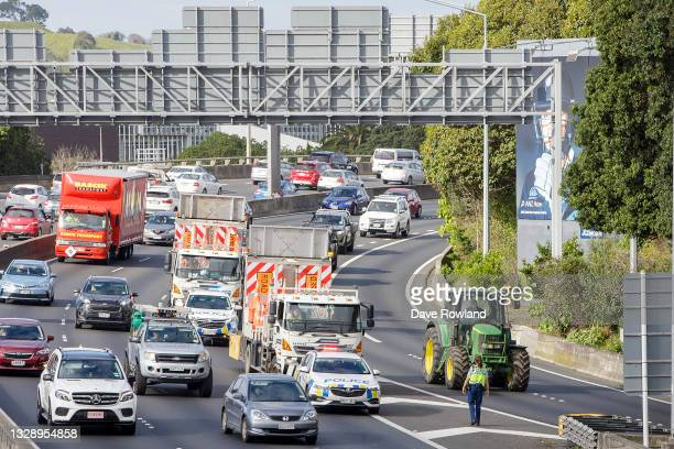 Tractors being driven by farmers and protesters on the motorway into Auckland causing congestion as they express their views on July 16, 2021 in...