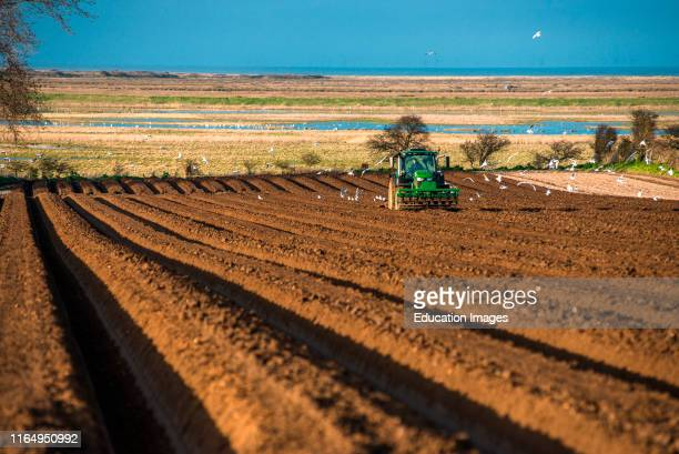 Tractors carrying out deep bed shaping followed by sowing the fields in early springs time at Burnham Overy in North Norfolk East Anglia England UK
