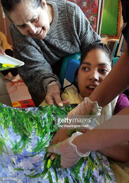 Tracy A. Woodward/The Washington Post Kilmer Center, 8100 Wolftrap Rd., Vienna, VA Art class for profoundly disabled children at Kilmer Center. Class...