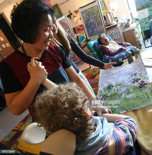 Tracy A. Woodward/The Washington Post Kilmer Center, 8100 Wolftrap Rd., Vienna, VA Art class for profoundly disabled children at Kilmer Center. From...