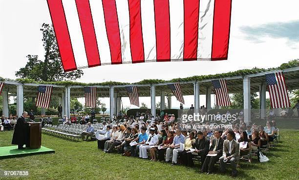 Tracy A Woodward/The Washington Post Old Amphitheater Arlington National Cemetery Arlington VA Naturalization ceremony for immigrants who are...