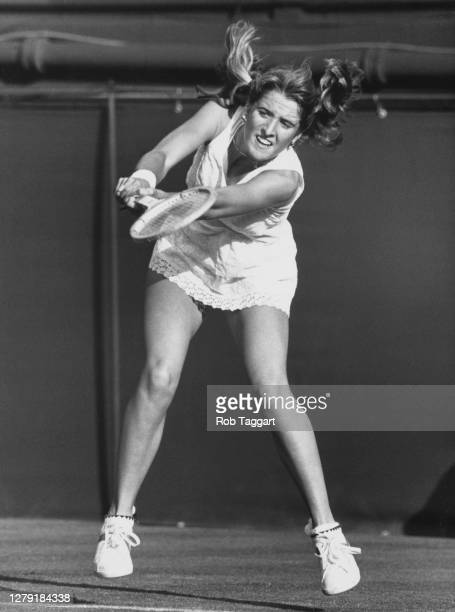 Tracy Austin of the United States makes a double handed backhand return to compatriot Alycia Moulton during their Women's Singles First Round match...