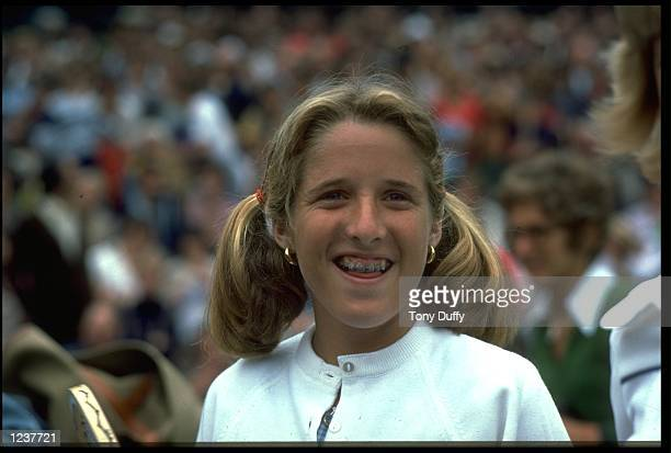 Tracy Austin of the United States smiles during a match at the 1977 Wimbledon Tennis Championships