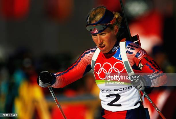 Tracy Barnes of the United States competes in the Womens Biathlon 15km Individual Final on Day 3 of the 2006 Turin Winter Olympic Games on February...