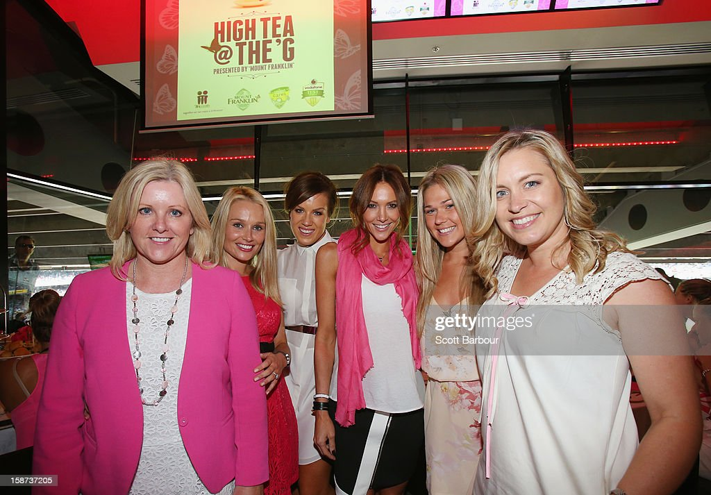 Tracy Bevan, McGrath Foundation ambassador and Director, Julia Barry, partner of Matthew Wade of Australia, Lee Furlong, wife of Shane Watson, Kyly Clarke, wife of Michael Clarke of Australia, Sam Williams, partner of David Warner of Australia and Virginia Lette, wife of Ed Cowan of Australia pose during the 'High Tea at the G' luncheon on day two of the International Test match between Australia and Sri Lanka at Melbourne Cricket Ground on December 27, 2012 in Melbourne, Australia.