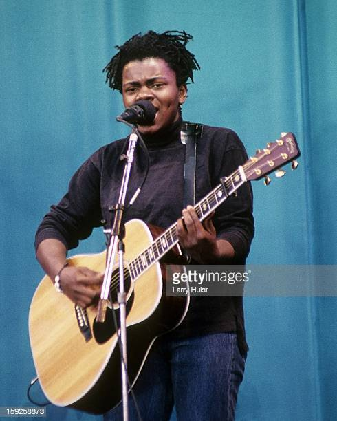 Tracy Chapman performing at the Oakland Coliseum in Oakland, California on May 27, 1989.