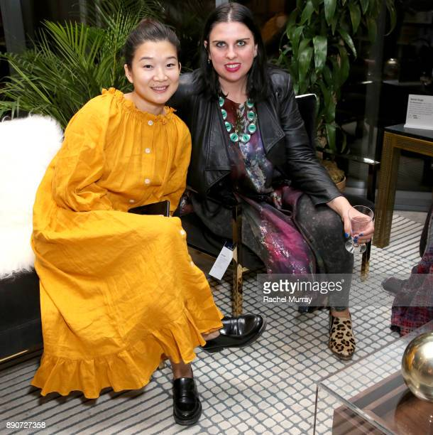 Tracy Cho and Meghan McNeer at the Domino Outpost CB2 Influencer Dinner at Fred Segal on December 11 2017 in Los Angeles California
