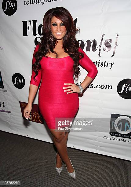 Tracy DiMarco attends the Flaunt Session{s} Hair Show during the 2011 New Jersey Fashion Week at The Chandelier Room on October 7 2011 in Hoboken New...