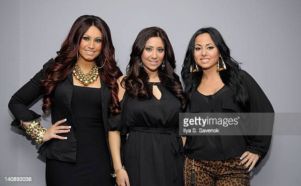 Tracy Dimarco Gigi Liscio and Olivia Blois attend the Jerseylicious cast meet greet at the NBC Experience Store on March 7 2012 in New York City