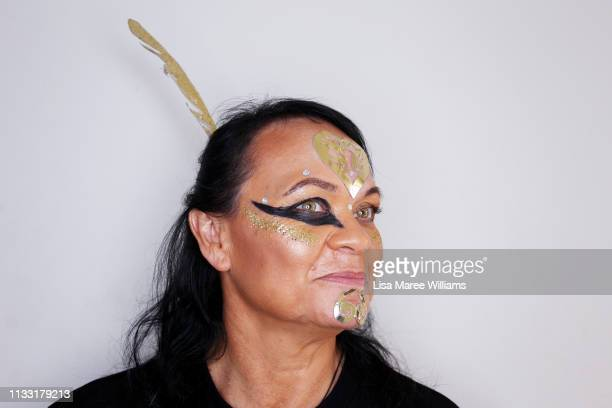 Tracy Edmunds prepares to take part in the annual Mardi Gras parade on March 02 2019 in Sydney Australia It is the first time Haka For Life have had...