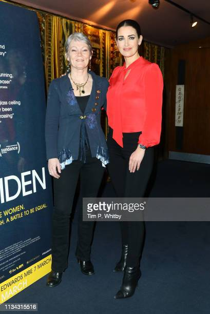 Tracy Edwards and Kirsty Gallacher attend the Maiden premiere at The Curzon Mayfair on March 07 2019 in London England