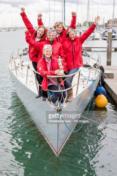Tracy Edwards MBE with Beefeater trophy and other crew members left to right Angela Health Jo Gooding Tanja Visser and Sarah Davies on board Maiden...