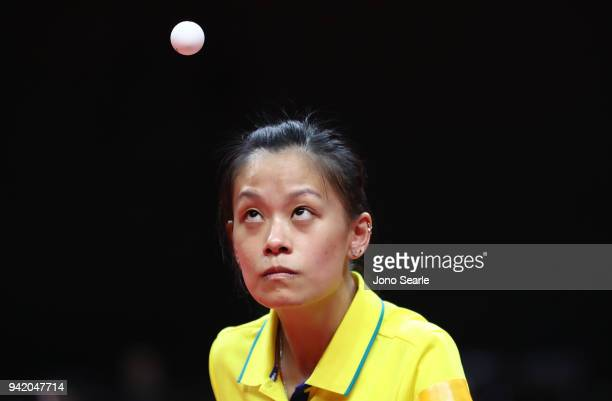 Tracy Feng of Australia competes during the Table Tennis Women Team preliminary rounds against Mauritius on day one of the Gold Coast 2018...