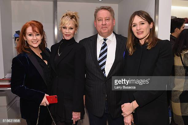 Tracy Griffith actress Melanie Griffith CEO of Smythson Mark Daley and actress Emily Mortimer attend Smythson's Madison Avenue Grand Opening Event on...