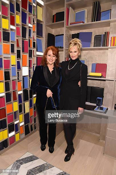 Tracy Griffith wife of CEO of Smythson and actress Melanie Griffith attend Smythson's Madison Avenue Grand Opening Event on March 14 2016 in New York...