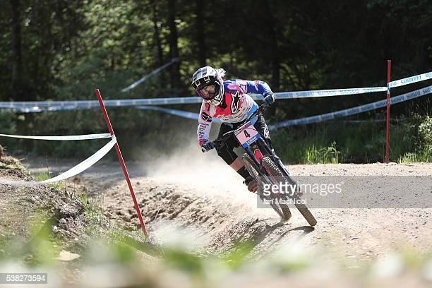 Tracy Hannah of Australia competes in the women's Downhill at the UCI Mountain Bike World Cup on June 5 2016 in Fort William Scotland