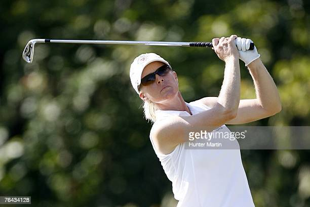Tracy Hanson hits her tee shot on the 2nd hole during the first round of the State Farm Classic at Panther Creek Country Club on August 30 2007 in...