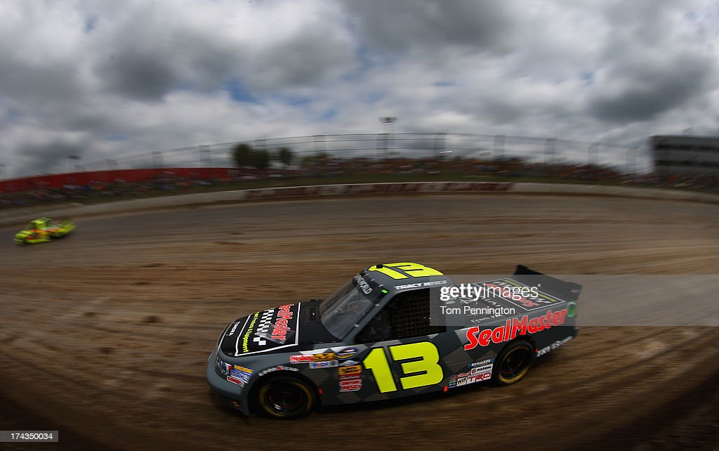 Tracy Hines, drives the #13 SealMaster Toyota, during practice for the NASCAR Camping World Truck Series inaugural Mudsummer Classic at Eldora Speedway on July 24, 2013 in Rossburg, Ohio.