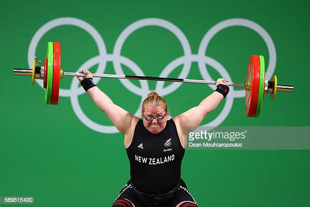 Tracy Lambrechs of New Zealand lifts during the Women's Weightlifting 75KG Group B at Riocentro Pavilion 2 on August 14 2016 in Rio de Janeiro Brazil
