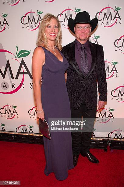 Tracy Lawrence and wife Becca Lawrence during The 39th Annual CMA Awards Arrivals at Madison Square Garden in New York City New York United States